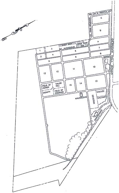 Sacred Heart of Jesus Cemetery Map